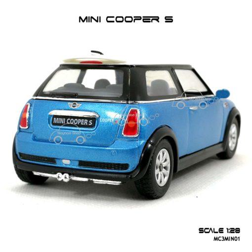 โมเดลรถ MINI COOPER S สีฟ้า (1:28) น่ารักน่าสะสม