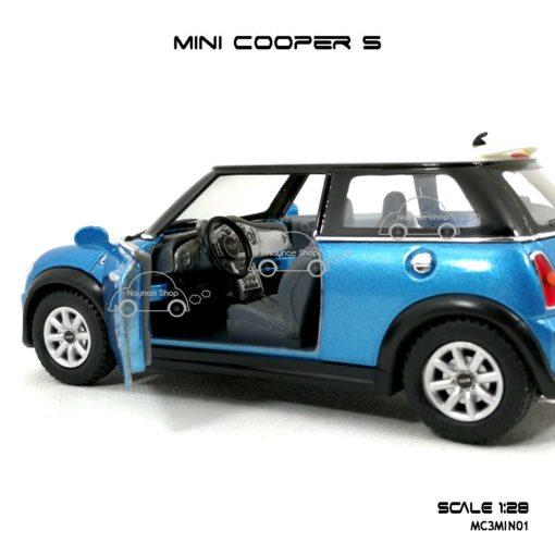 โมเดลรถ MINI COOPER S สีฟ้า (1:28) ภายในรถ เหมือนรถจริง