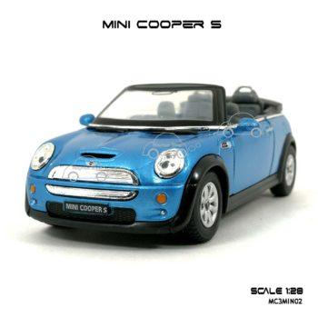 โมเดลรถ MINI COOPER S เปิดปะทุน สีฟ้า (1:28)