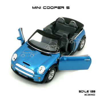 โมเดลรถ MINI COOPER S เปิดปะทุน สีฟ้า (1:28) เปิดประตูได้