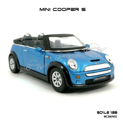 โมเดลรถ MINI COOPER S เปิดปะทุน สีฟ้า (1:28) น่าสะสม