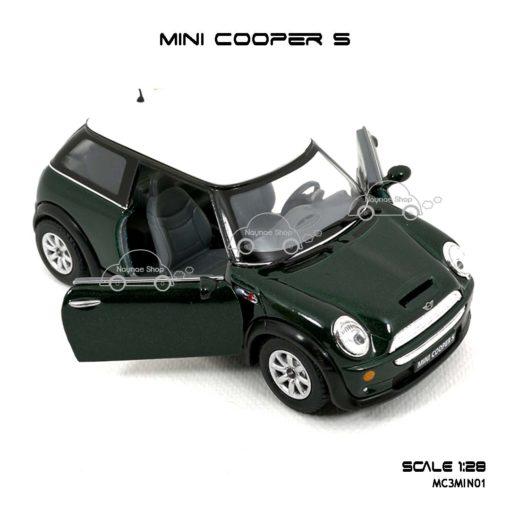 โมเดลรถ MINI COOPER S สีเขียว (1:28) เปิดประตูซ้ายขวาได้