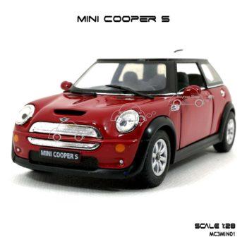 โมเดลรถ MINI COOPER S สีแดง (1:28) มีลานดึงปล่อยรถวิ่งได้