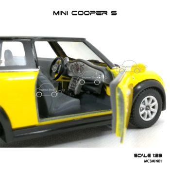 โมเดลรถ MINI COOPER S สีเหลือง (1:28) ภายในรถสวยงาม