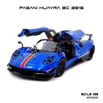 โมเดลรถ PAGANI HUAYRA BC 2016 คาดลาย สีน้ำเงิน (1:38)