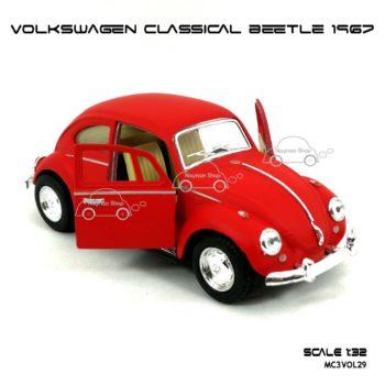 โมเดลรถ VOLKSWAGEN CLASSICAL BEETLE 1967 สีแดงด้าน (1:32) มีลานดึงปล่อยรถวิ่งได้