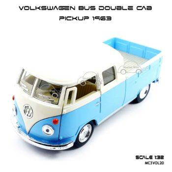 โมเดลรถ Volkswagen Bus Double Cab Pickup 1963 สีฟ้า (1:34)