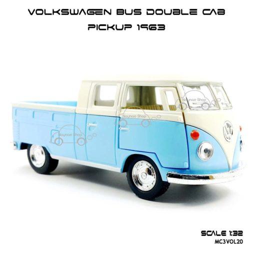 โมเดลรถ Volkswagen Bus Double Cab Pickup 1963 สีฟ้า (1:34) โมเดลน่ารัก