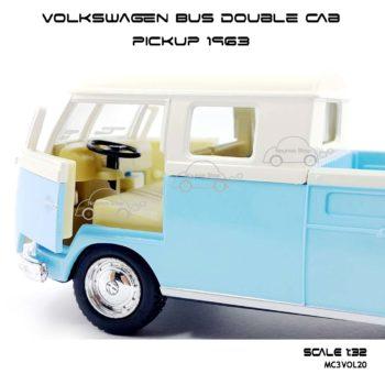 โมเดลรถ Volkswagen Bus Double Cab Pickup 1963 สีฟ้า (1:34) เปิดประตูรถได้