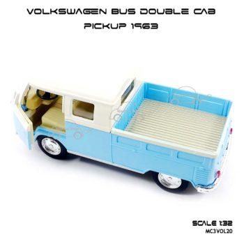 โมเดลรถ Volkswagen Bus Double Cab Pickup 1963 สีฟ้า (1:34) มีลานดึงปล่อยรถวิ่งได้