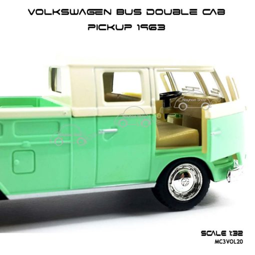 โมเดลรถ Volkswagen Bus Double Cab Pickup 1963 สีเขียว (1:34) เปิดประตูซ้ายขวาได้
