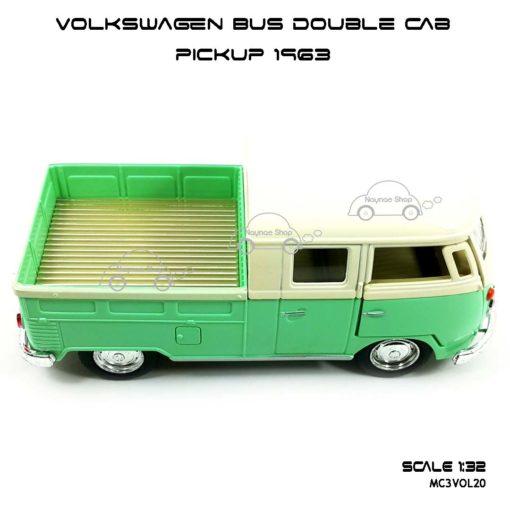โมเดลรถ Volkswagen Bus Double Cab Pickup 1963 สีเขียว (1:34) รถเหล็ก ราคาถูก