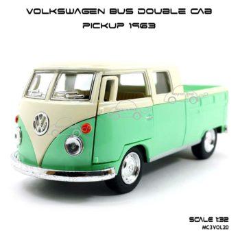 โมเดลรถ Volkswagen Bus Double Cab Pickup 1963 สีเขียว (1:34) โมเดลสำเร็จ