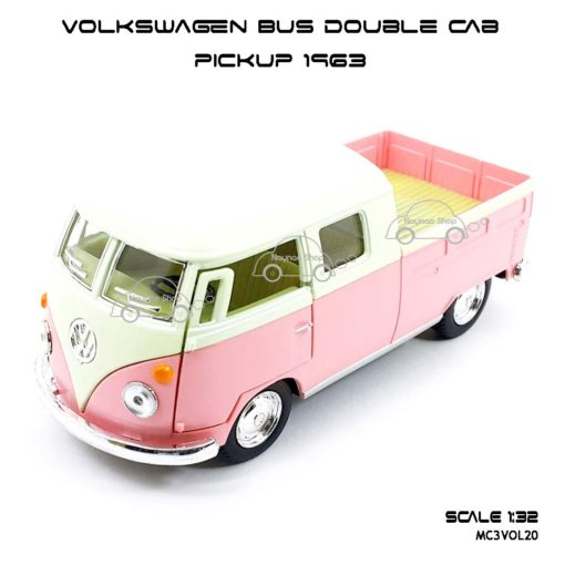 โมเดลรถ Volkswagen Bus Double Cab Pickup 1963 สีชมพู (1:34) โมเดลสำเร็จ