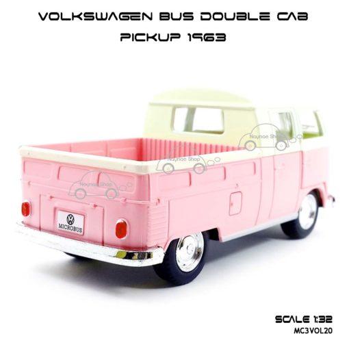 โมเดลรถ Volkswagen Bus Double Cab Pickup 1963 สีชมพู (1:34) โมเดลรถกระบะ