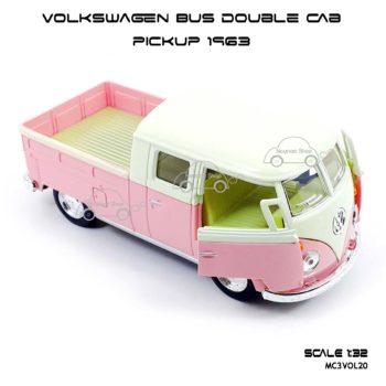 โมเดลรถ Volkswagen Bus Double Cab Pickup 1963 สีชมพู (1:34) เปิดประตูซ้ายขวาได้