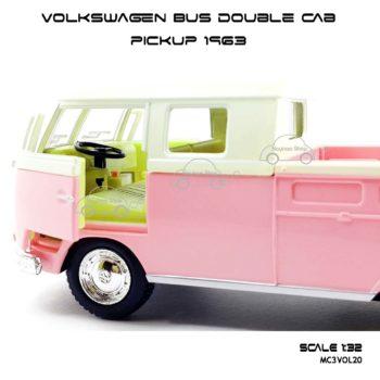 โมเดลรถ Volkswagen Bus Double Cab Pickup 1963 สีชมพู (1:34) ภายในรถ จำลองเหมือนจริง