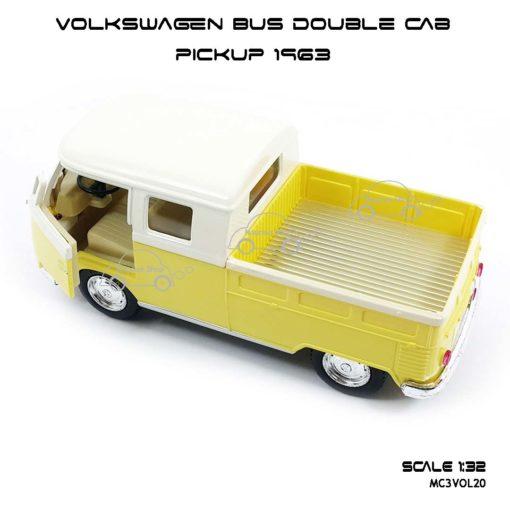 โมเดลรถ Volkswagen Bus Double Cab Pickup 1963 สีเหลือง (1:34) โมเดลรถ สะพานเหล็ก