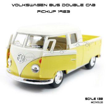 โมเดลรถ Volkswagen Bus Double Cab Pickup 1963 สีเหลือง (1:34) เปิดประตูซ้ายขวาได้