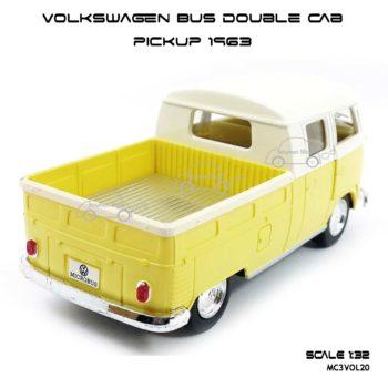 โมเดลรถ Volkswagen Bus Double Cab Pickup 1963 สีเหลือง (1:34) โฟล์คกระบะ