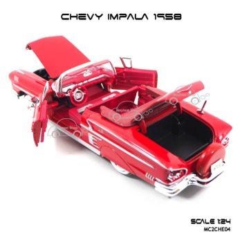 โมเดล รถคลาสสิค CHEVY IMPALA 1958 สีแดง (1:24) เปิดฝากระโปรงท้ายรถได้