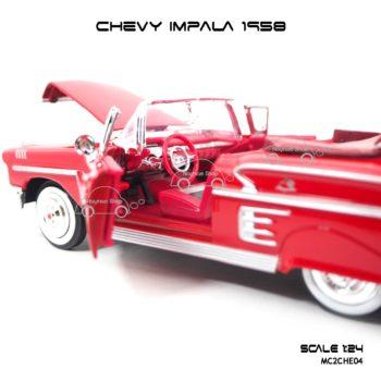 โมเดล รถคลาสสิค CHEVY IMPALA 1958 สีแดง (1:24) ภายในสวยงาม เหมือนจริง