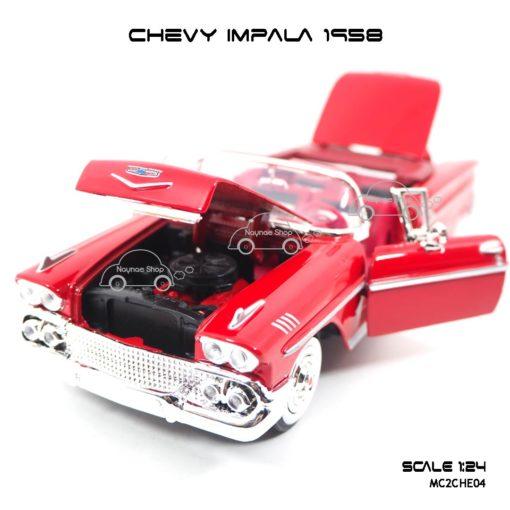 โมเดล รถคลาสสิค CHEVY IMPALA 1958 สีแดง (1:24) ห้องเครื่องเหมือนจริง