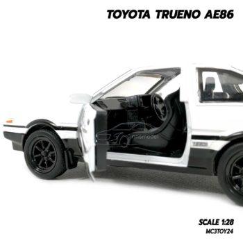 โมเดล รถส่งเต้าหู้ TOYOTA TRUENO AE86 ฝากระโปรงขาว (1:28) ภายในรถโมเดลเหมือนจริง