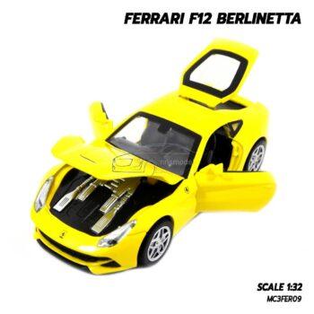 โมเดลรถ เฟอร์รารี่ FERRARI F12 BERLINETTA สีเหลือง (Scale 1:32) โมเดลรถเหล็ก เปิดฝากระโปรงหน้าได้ เครื่องยนต์จำลองสมจริง