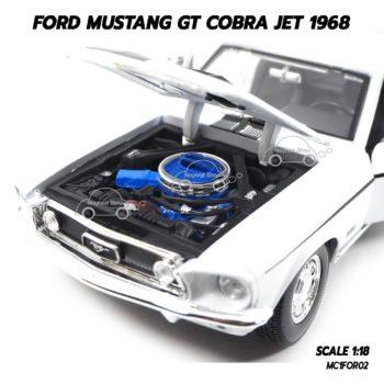 โมเดลรถ FORD MUSTANG GT COBRA JET 1968 สีขาว (1:18) เครื่องยนต์เหมือนจริง