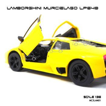 โมเดลรถ LAMBORGHINI MURCIELAGO LP640 สีเหลือง (1:36) ภายในรถเหมือนจริง