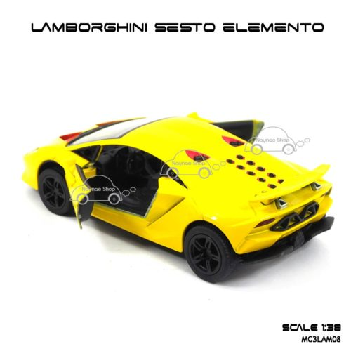 โมเดลรถ LAMBORGHINI SESTO ELEMENTO สีเหลือง (1:38) มีลานดึงปล่อยรถวิ่งได้