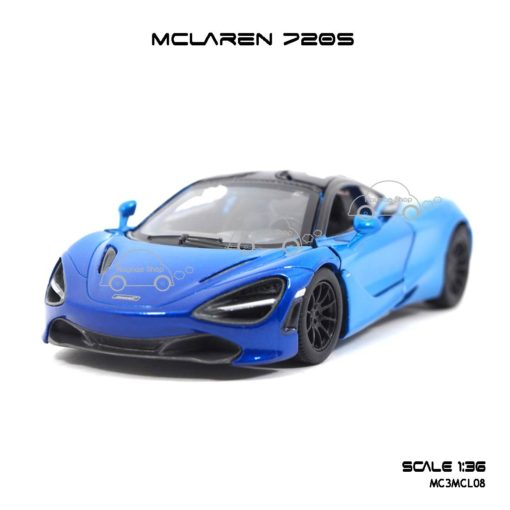 โมเดลรถเหล็ก MCLAREN 720S สีฟ้าทูโทน (1:36) โมเดลรถเหล็ก ราคาถูก