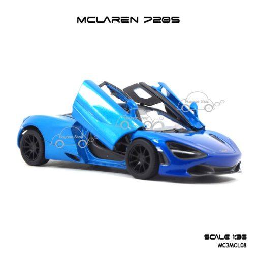 โมเดลรถเหล็ก MCLAREN 720S สีฟ้าทูโทน (1:36) โมเดลรถเหล็ก รุ่นประตูปีกนก