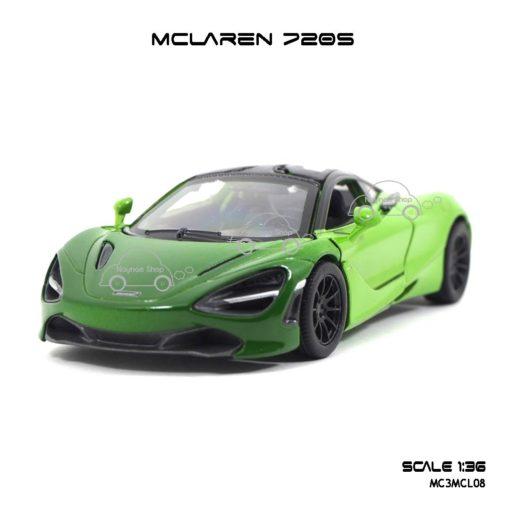 โมเดลรถเหล็ก MCLAREN 720S สีเขียวทูโทน (1:36) โมเดลรถเหล็ก รุ่นประตูปีกนก