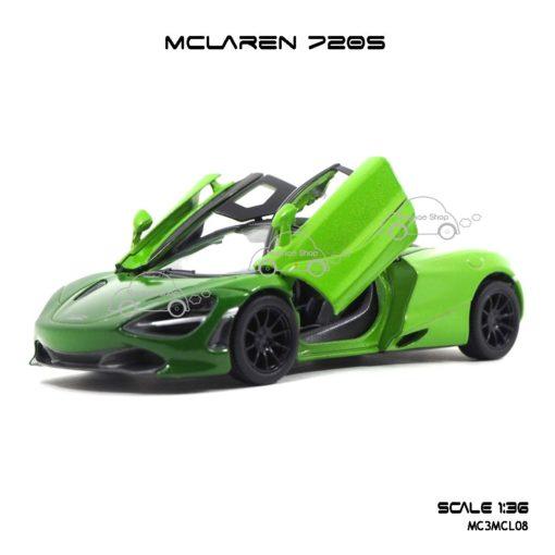 โมเดลรถเหล็ก MCLAREN 720S สีเขียวทูโทน (1:36) โมเดลรถเหล็ก ราคาส่ง