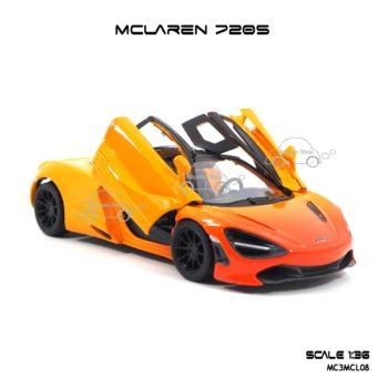 โมเดลรถเหล็ก MCLAREN 720S สีส้มทูโทน (1:36) ประตูปีกนก