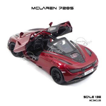 โมเดลรถเหล็ก MCLAREN 720S สีแดงทูโทน (1:36) ภายในรถเหมือนจริง