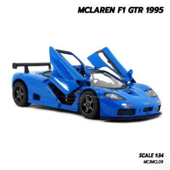 โมเดลรถ MCLAREN F1 GTR 1995 สีน้ำเงิน (1:34) โมเดลรถเหล็ก เปิดประตูปีกนกได้