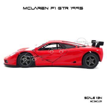 โมเดลรถเหล็ก MCLAREN F1 GTR 1995 สีแดง (1:34) รถของเล่นจำลองเหมือนจริง