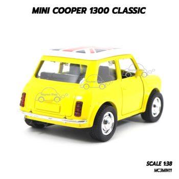 โมเดล รถคลาสสิค MINI COOPER 1300 CLASSIC สีเหลือง (1:38) โมเดลน่ารักเหมือนจริง