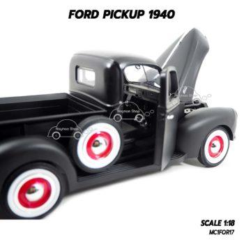 โมเดลรถกระบะ FORD PICKUP 1940 สีดำด้าน (1:18) เปิดประตูรถได้