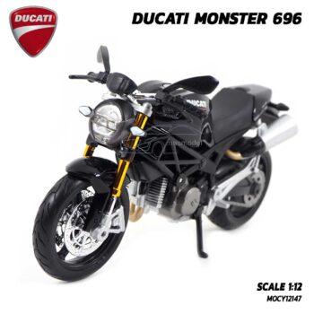 โมเดลรถบิ๊กไบค์ DUCATI MONSTER 696 สีดำ (Scale 1:12) โมเดลดูคาติ จำลองเหมือนจริง