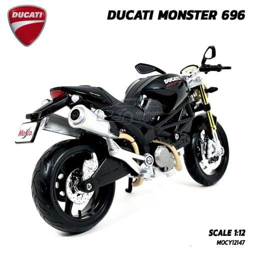 โมเดลรถบิ๊กไบค์ DUCATI MONSTER 696 สีดำ (Scale 1:12) โมเดล ducati จำลองเหมือนจริง