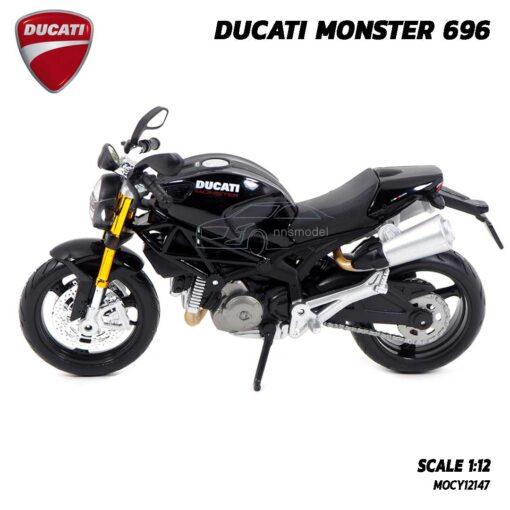 โมเดลรถบิ๊กไบค์ DUCATI MONSTER 696 สีดำ (Scale 1:12) โมเดล ducati รุ่นขายดี พร้อมกล่องแพคเกจ