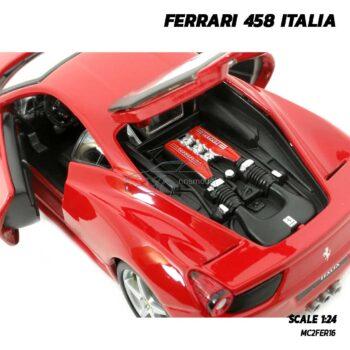 โมเดลรถ FERRARI 458 ITALIA สีแดง (Scale 1:24) เครื่องยนต์จำลองสมจริง