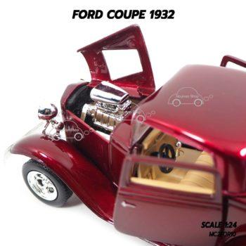 โมเดลรถ FORD COUPE 1932 สีแดง (1:24) เครื่องยนต์เหมือนจริง