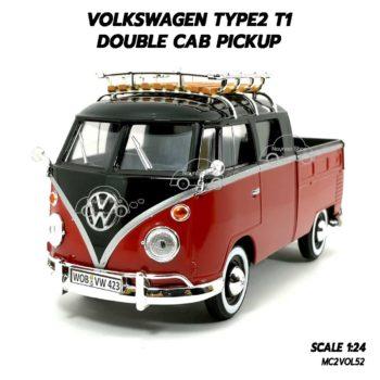 โมเดลรถ VOLKSWAGEN TYPE2 T1 DOUBLE CAB สีแดงดำ (1:24) โมเดลประกอบสำเร็จ