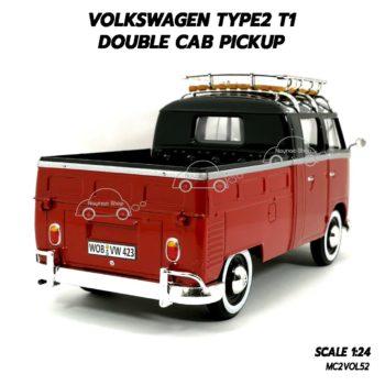 โมเดลรถ VOLKSWAGEN TYPE2 T1 DOUBLE CAB สีแดงดำ (1:24) โมเดลสวยเหมือนจริง
