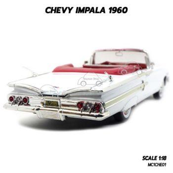 โมเดล รถคลาสสิค CHEVY IMPALA 1960 สีขาว (1:18) รถจำลองเหมือนจริง